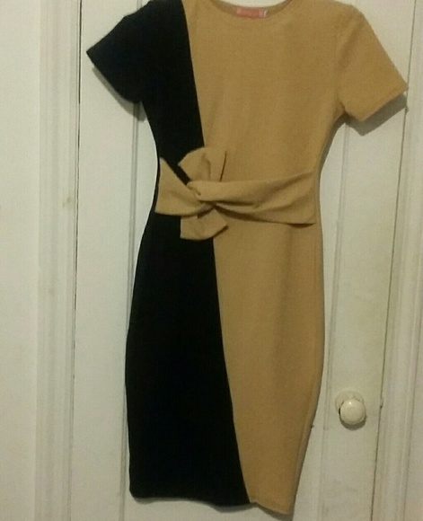 New Dresses & Skirts - Tan Fashion stretchy dress with tie